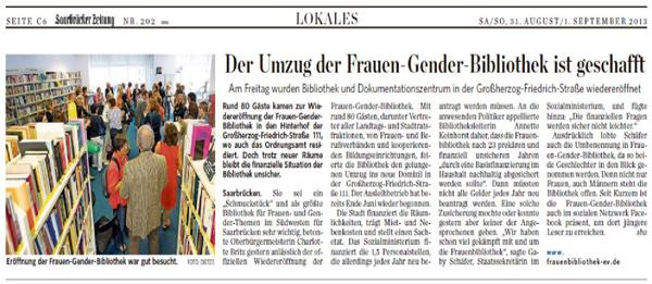 Abbildung des Artikels in der Saarbrücker Zeitung zur Wiedereröffnung