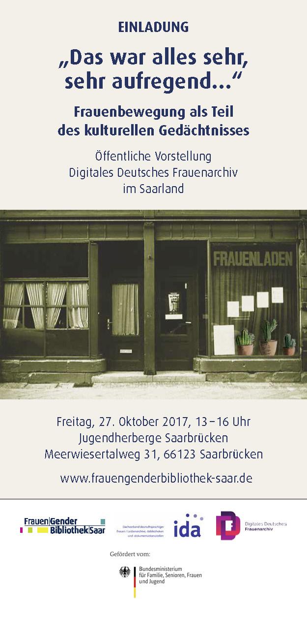 Vorstellung Digitales Deutsches Frauenarchiv im Saarland am Freitag, 27. Oktober 2017, von 13 bis 16 Uhr in der Jugendherberge Saarbrücken