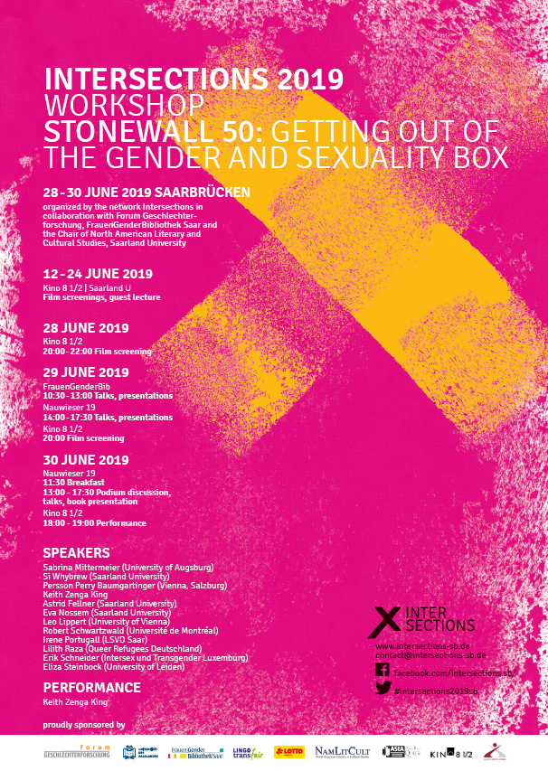"Tagung des Netzwerk Intersections: ""Stonewall 50: Getting out of the gender and sexuality box"" am 29. und 30. Juni 2019"