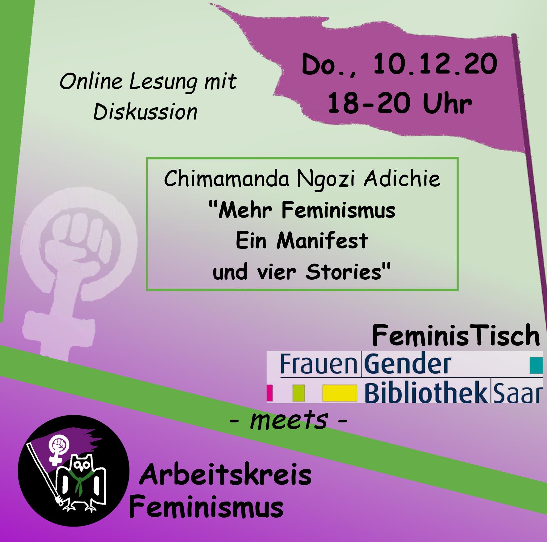 """""""FeminisTisch"""" Spezial mit AK Feminismus: Lesung und Gespräch zu """"Mehr Feminismus! Ein Manifest und vier Stories """" am Donnerstag, 10.Dezember2020, von 18 bis 20 Uhr"""
