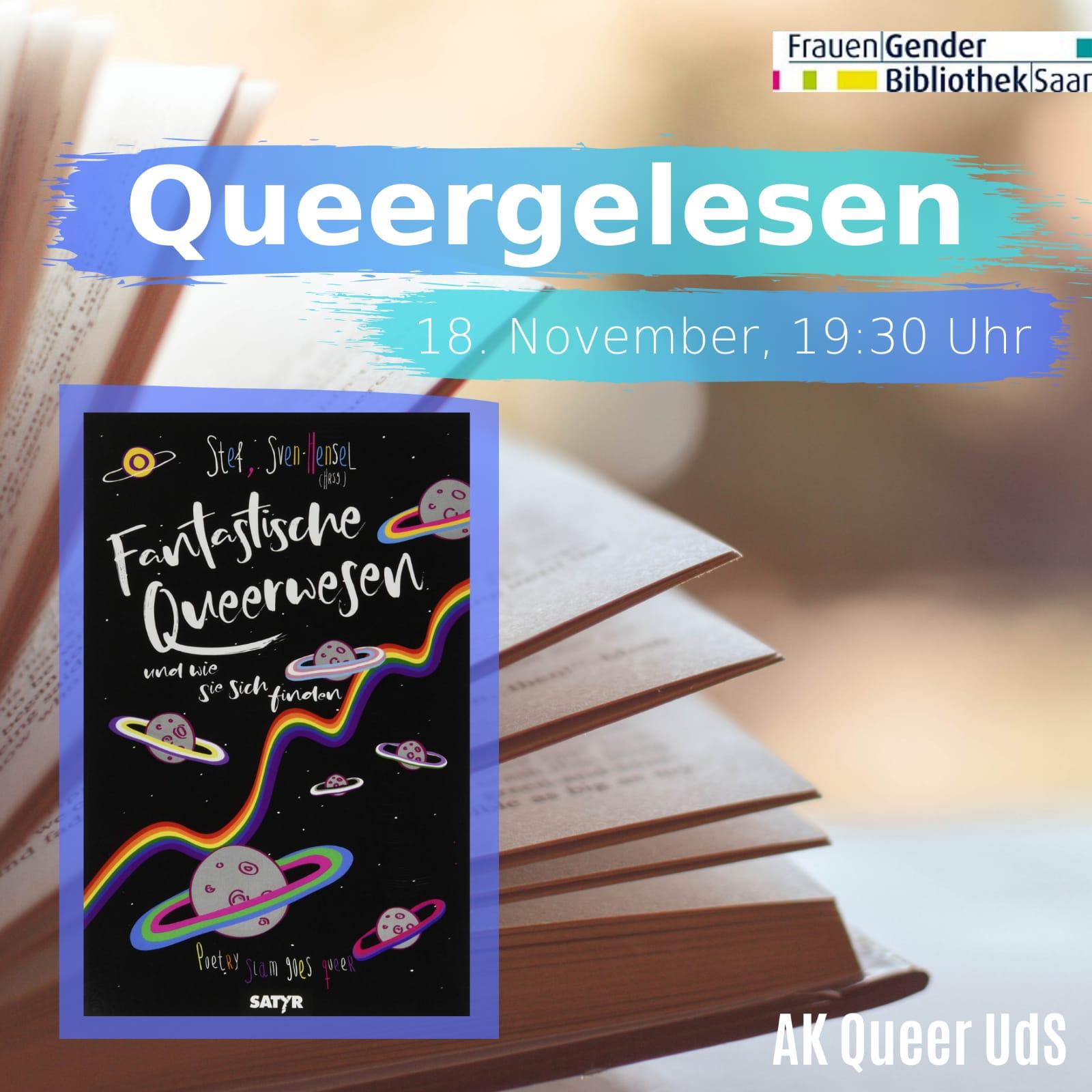 """Nächstes Treffen von """"Queergelesen"""" online am Mittwoch, 18.11.2020, um 19:30 Uhr"""