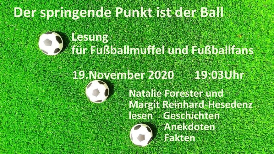 """Frauenfußballlesung """"Der springende Punkt ist der Ball"""" am 19.11.2020 um 19:03 Uhr im JUZ Försterstraße"""