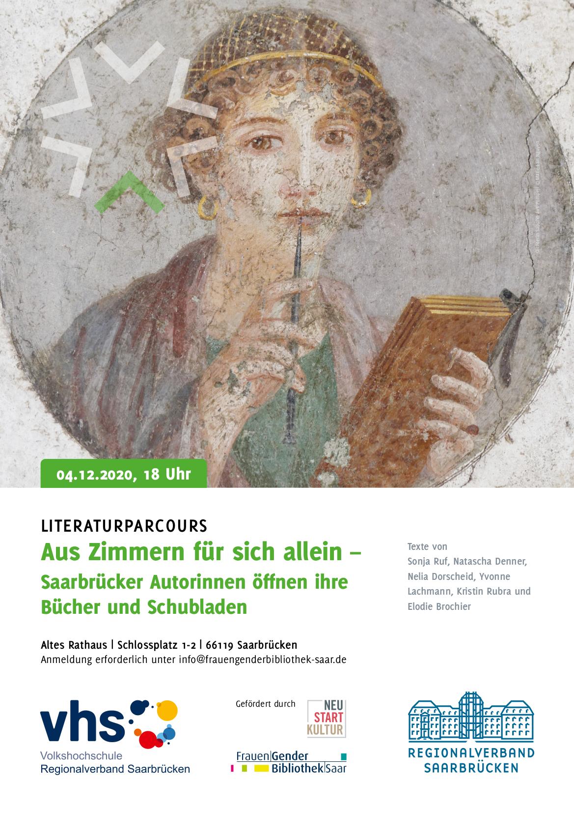 Literaturparcours mit Saarbrücker Autorinnen am Freitag, 4. Dezember 2020, um 18 Uhr